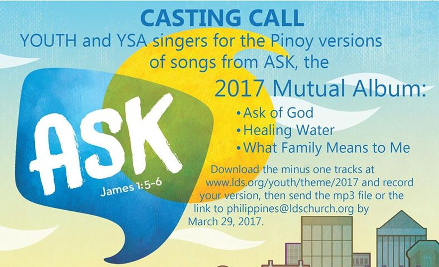 LDS Philippines Casting Office Now Searching for Youth & YSA Singers for Pinoy Versions of 2017 Mutual Album