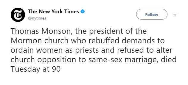 Netizens React to New York Times Disrespectful Report of the Passing of Thomas S. Monson