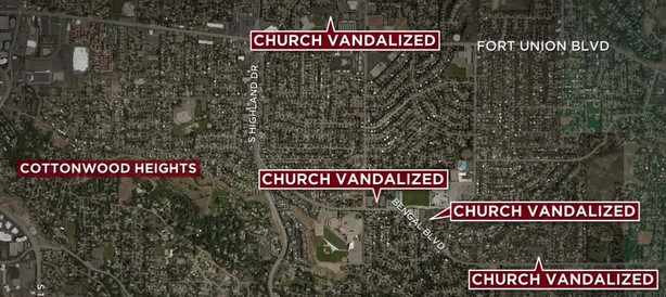 4 LDS Chapels in Cottonwood Heights has been Vandalized