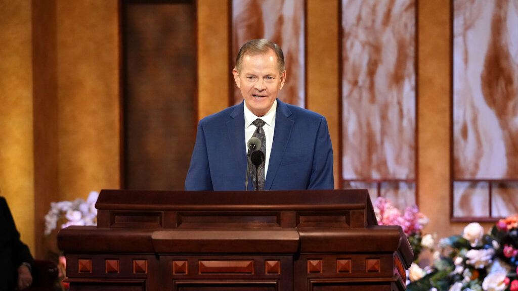 Elder Gary E. Stevenson speaks during the Saturday morning session of the 191st Annual General Conference on April 3, 2021. Credit: The Church of Jesus Christ of Latter-day Saints