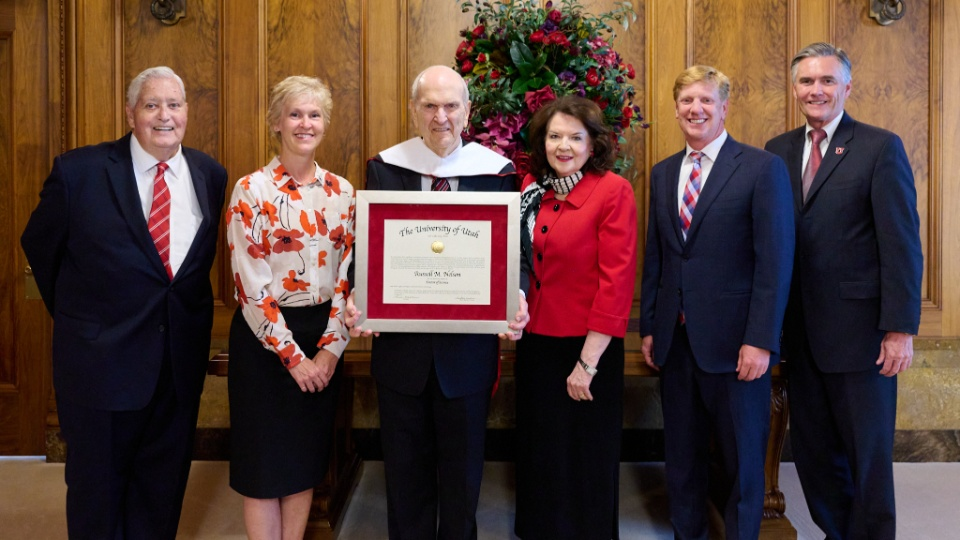 President Nelson Receives Honorary Doctoral Degree from the University of Utah